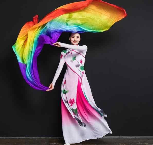 קידום מכירה לוהטת בטן ריקוד משי רעלה לנשים אור 5 mommes 100% משי צעיפי ריקודי בטן כורכת שיפוע 250cm