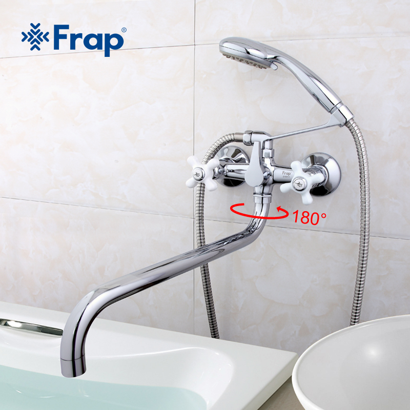 Frap White Handle Long Nose Bathroom Shower Faucets Bathtub Faucet Mixer Tap With Hand Shower