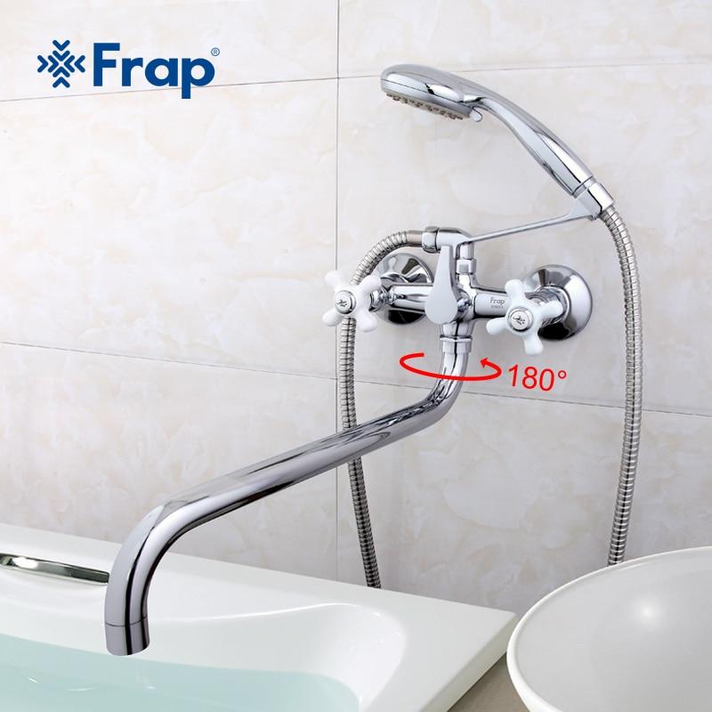 Frap biały uchwyt długi nosek łazienka baterie prysznicowe bateria do wanny Mixer Tap z rączka prysznica zestawy F2618