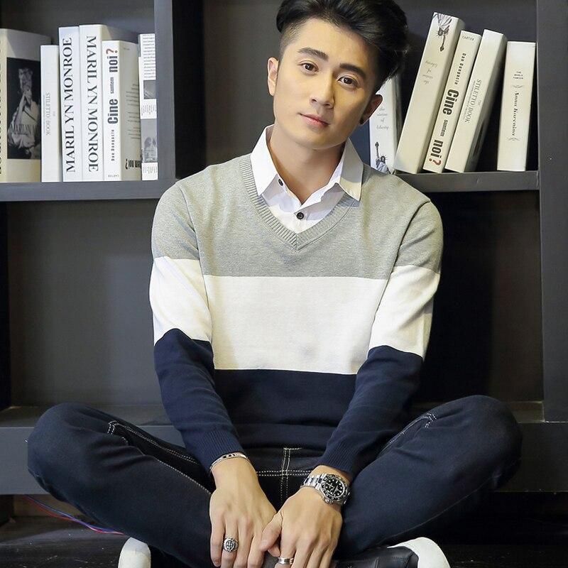 2018 hiver coréen hommes chandail faux deux pièces chandail col de chemise à manches longues vêtements