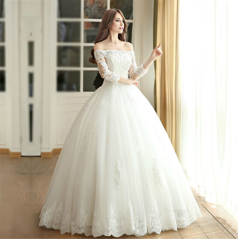 Lace Ball Gown Wedding Dresses Boat Neck 3/4 Sleeve Custom Made Plus ...