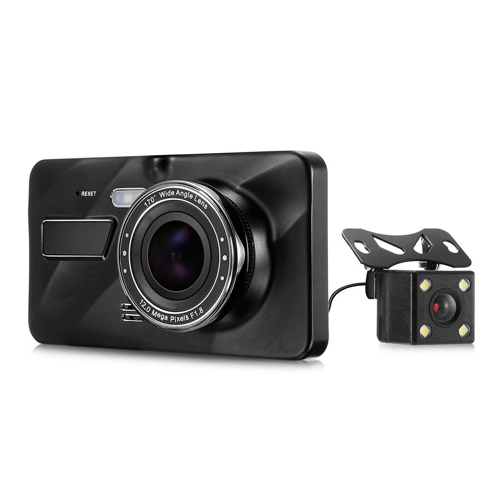 CHUPAD 4 inch Car Hidden Dash Cam Dual Camera 720P HD Car DVR 170 Degree Wide Angle Car Driving Recorder WDR Night Vision Cam
