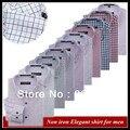 Оптовые Смешанные цветы и размеры Европейский стиль Slim fit XS-XXXXL длинным рукавом Номера утюг проверить мужская рубашка летом QR-6006