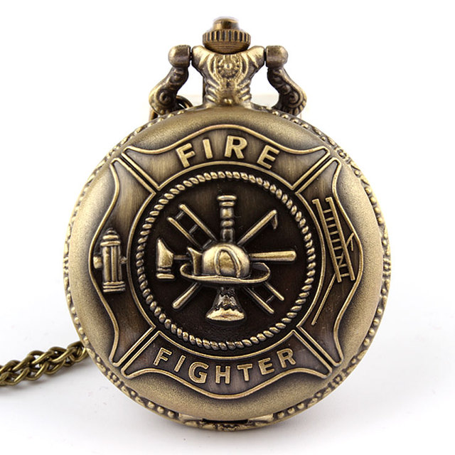 Bronze Fire Fighter Pocket Watch Necklace Pendant Chain Xmas Gift P106 Dropshipp