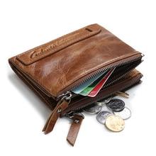 цена на GUBINTU Men wallets Vintage Double Zipper Genuine Crazy Horse Cowhide Leather Short Bifold Men's Wallet Coin Purse