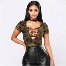 b9ec98e03eee New short sleeve V-neck bandage sexy lace up Camouflage bodycon bodysuit  women fashion casual body