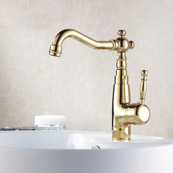 цены Luxury Gold Color Brass Basin Faucets Deck Mounted Single Handle Bathroom Basin Mixer Tap Hot & Cold Water zgf005