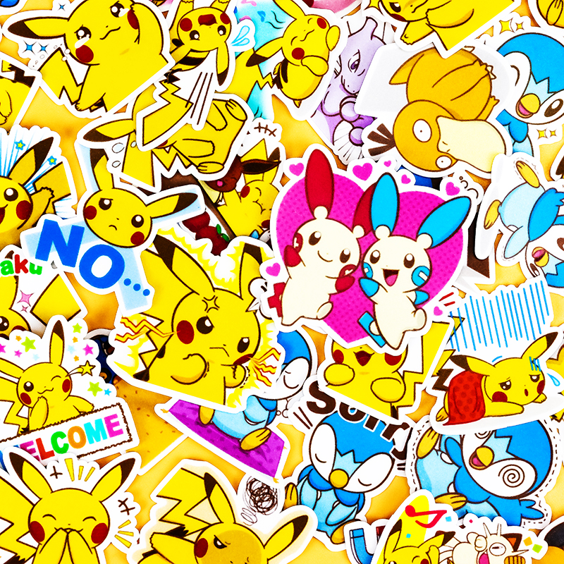 42pcs Creative Cute Self-made Pikachu  Expression DIY Animal Phone Stickers Diary Album Decoration Sticker Scrapbooking Child