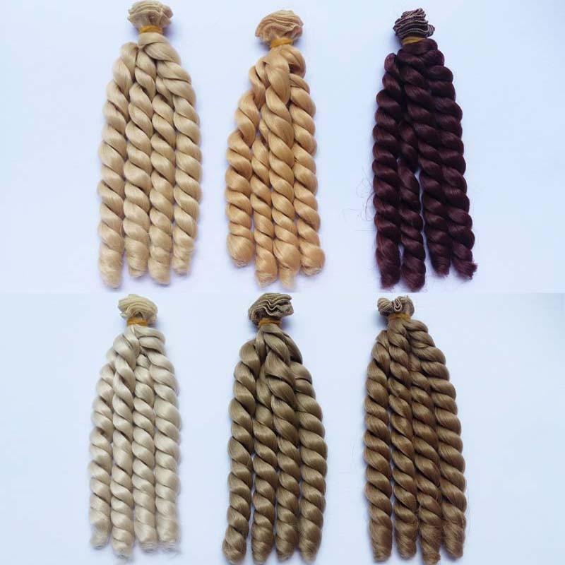 6 PCS / LOT Nouveau Curly BJD Perruque Cheveux Marron Blond Naturel Couleur DIY Cheveux Poupée Perruques Pour Poupées