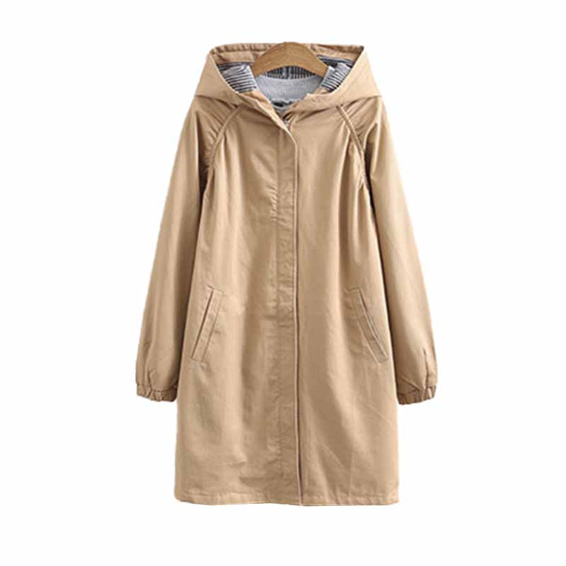 Plus size 3XL-6XL Hooded   trench   coat women Spring autumn long Outerwear Casual top female cotton Windbreaker Windproof coats 138