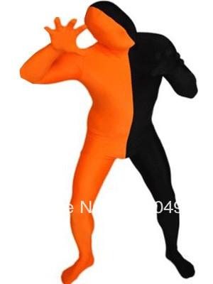 Orange & Black Split Lycra Spandex Full body Zentai Suit