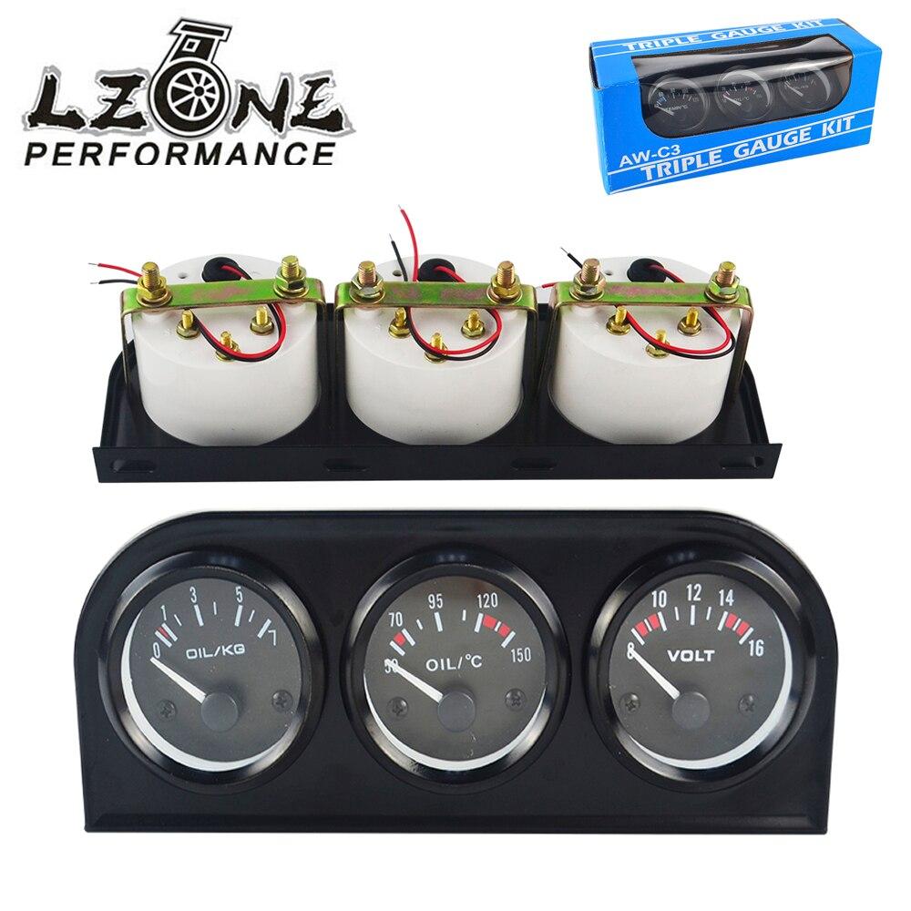 цена на LZONE - 52MM 3 In 1 Volt meter + water temp gauge + Oil Pressure Gauge Kit Volt meter Or Oil Temperature Gauge Triple Mete