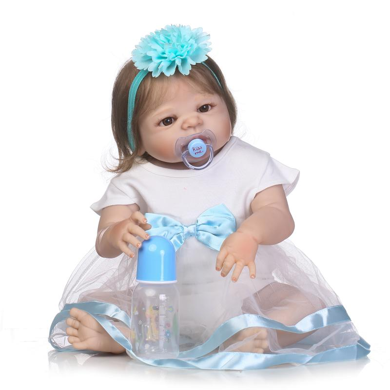 55cm Full Body Silicone Reborn Girl Baby Doll Toys 22inch Newborn Princess Toddler Babies Dolls Child Birthday Gift Bathe Toy