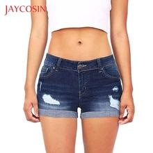 JAYCOSIN niskiej talii krótkie kobiety myte zgrywanie otwór Mini Jeans spodnie jeansowe spodenki krótkie spodenki wyposażony w regulowany cheap Poliester Szorty Średni Zipper fly NONE Zmiękczania skinny Proste Na co dzień sweaters jeans woman push up jeans woman flare