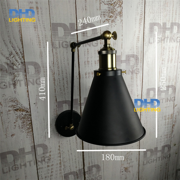 Free shipping vintage calssical wall sconce lights home indoor lighting black iron with E27 60W edison bulb beside wall lamp 1 piece free shipping anodizing aluminium amplifiers black wall mounted distribution case 80x234x250mm