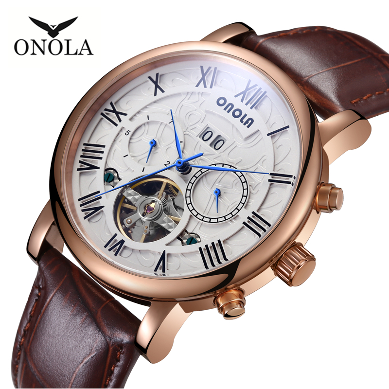 High Quality ONOLA Genuine Fashion Mens Automatic Mechanical Watch Business Sports Leather Belt WatchHigh Quality ONOLA Genuine Fashion Mens Automatic Mechanical Watch Business Sports Leather Belt Watch