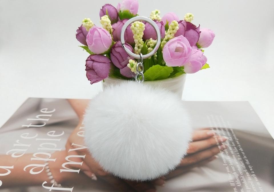 HTB1irsHwgmTBuNjy1Xbq6yMrVXak - 20 Colors Fluffy Fur Pom Pom Keychains Soft Faux Rex Rabbit Fur Ball Car Keyring Pompom Key Chains Women Bag Pendant Jewelry Diy