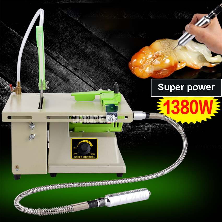 New Multi-function Desktop Mini Stone Polisher Grinding Engraving Jade Cutting Machine DIY Woodworking Table Saw 220V/110V 1380W le100 multi function desktop socket countertop manual flip table plug multimedia interface