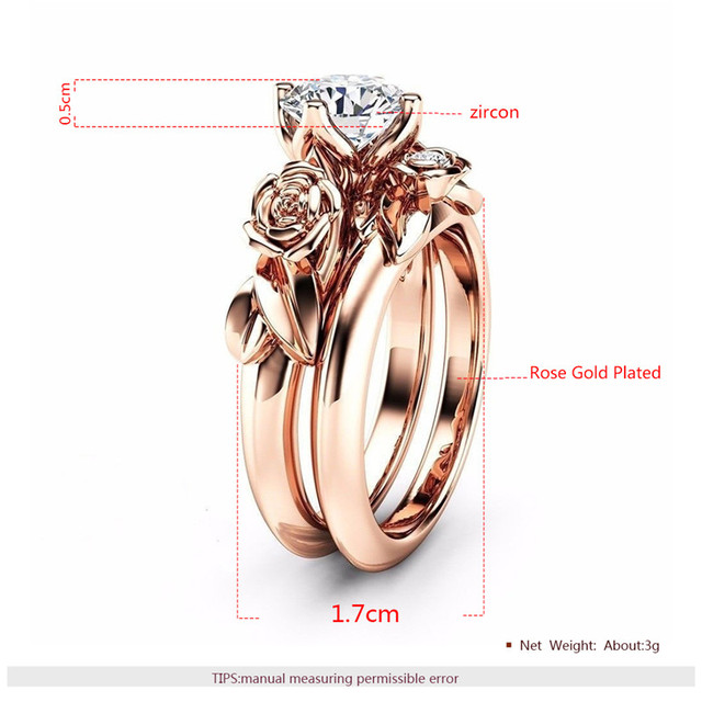ROXI 2pcs Luxury Jewellery Flower Zirconia Rings For Women Rose Gold Color Wedding Ring Set Jewelry Dropship bague femme