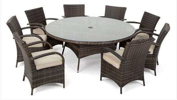2017 commerce assurance classique 8 places en rotin ronde ensembles de salle manger en plein air meubles de jardin dans tables en plein air de meubles sur