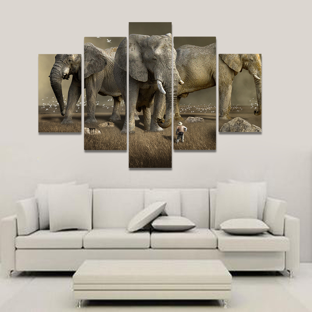 Unframed Canvas Painting Adventurer Giant Elephant Egret Picture Prints Wall Picture For Living Room Wall Art Decoration