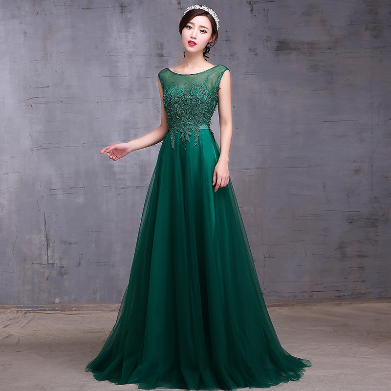 Green   Evening     Dress   Spring Fashion 2019 Illusion O-neck Beading Sexy Backless Prom   Dress   A-line High Quality Banquet   Dresses