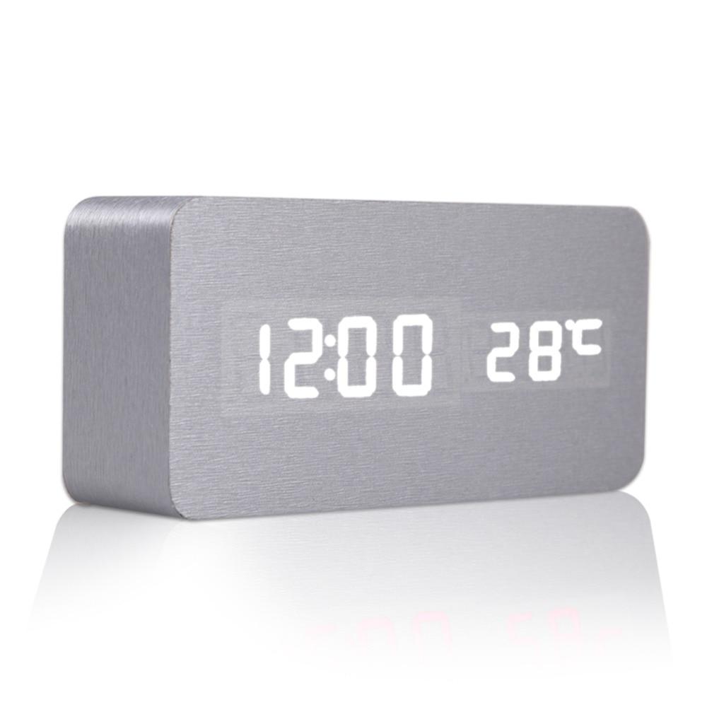 High Quality Sound Control Desk Table Bedside Digital Alarm Clock Silver Skin Digital Alarm Clock Desktop