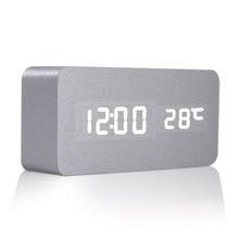 Высокое Качество Звука Управления Стол Тумбочка Цифровой Будильник Серебро Кожи Цифровой Будильник Desktop Clock Home Decor