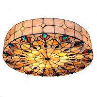 Baroque Retro 3 Light Tiffany Style Stained Glass Peacock Big Ceiling Lamp Vintage Flush Mount Light