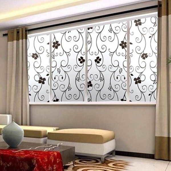 Pvc Black Flower Sweet Frosted Privacy Cover Gl Window Door Sticker Film Adhesive Home Decor 99