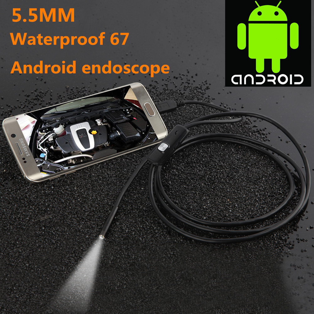 JCWHCAM USB Android Endoscope Camera Inspection 1/1.5/2/3.5/5m Android Borescope 5.5MM Lens 6 Led lights PC USB Endoskop Camera