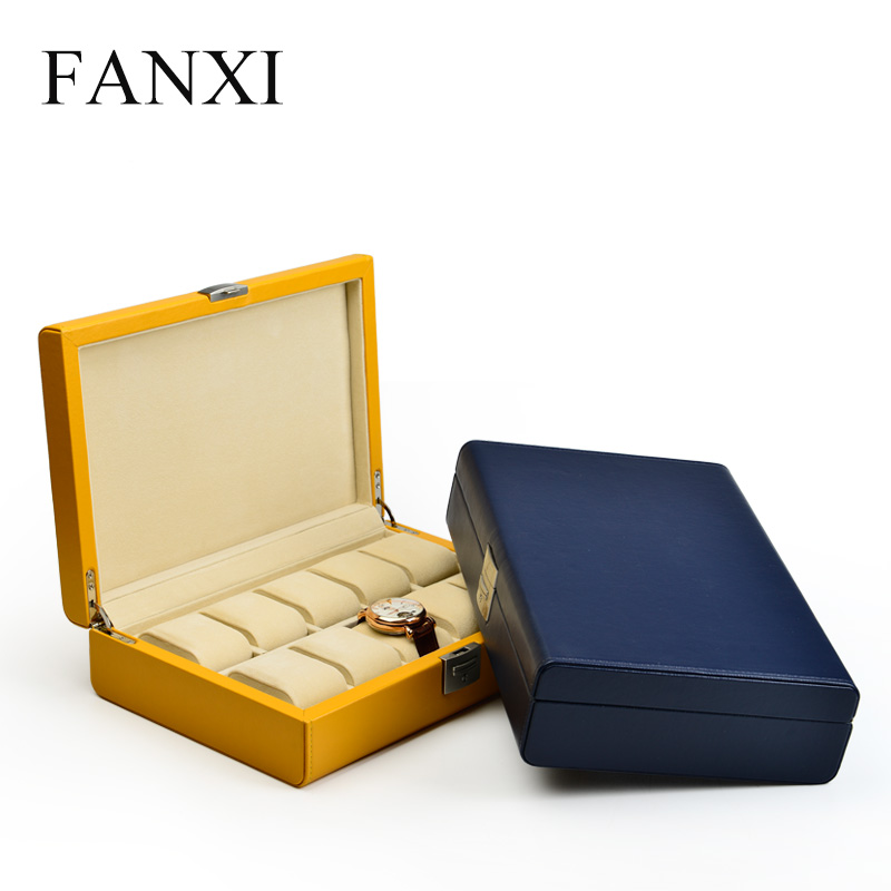 FANXI  PU Leather Watch Carrying  Case With Velvet Insert For Bangle Bracelet Organizer With 10 Watch Seats Bracelet Suitcase