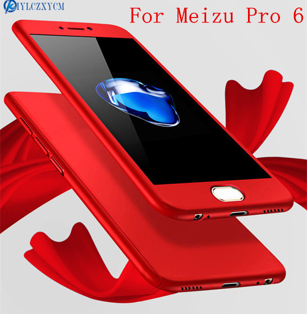 KIYLCZXYCM 360 Case Full Body Coverage Phone Cases for Meizu Pro 6 Hard PC Protective Cover for Meizu Pro6 Pro6s +Tempered Glass