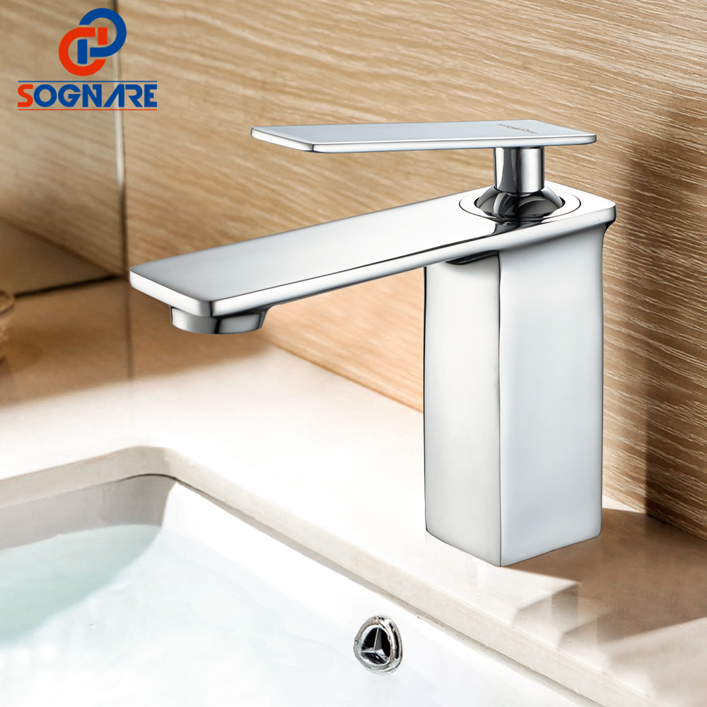 SOGNARE Square Chrome Bathroom Faucet Deck Mounted Basin Mixer Faucet Hot and Cold Water Tap Single Handle Bathroom Mixer D1108 newest washbasin design single hole one handle bathroom basin faucet mixer tap hot and cold water orb chrome brusehd