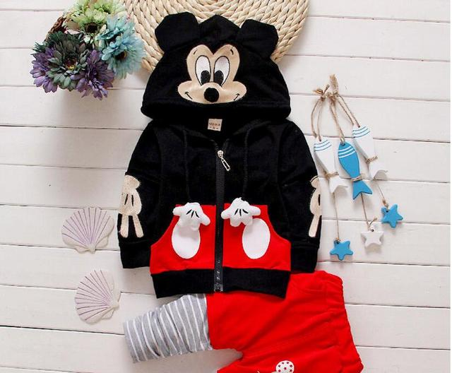 Autumn winter kids clothes girl long sleeve hoodies+pant set 2 pieces children cartoon mickey mouse pattern clothes suit