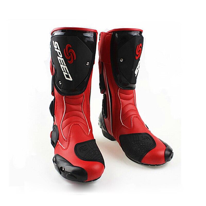 Bottes de moto en cuir microfibre pour hommes bottes de vélo de saleté bottes de moto de course de vitesse bottes de Motocross BOTA B1001 taille: 40 45 - 4