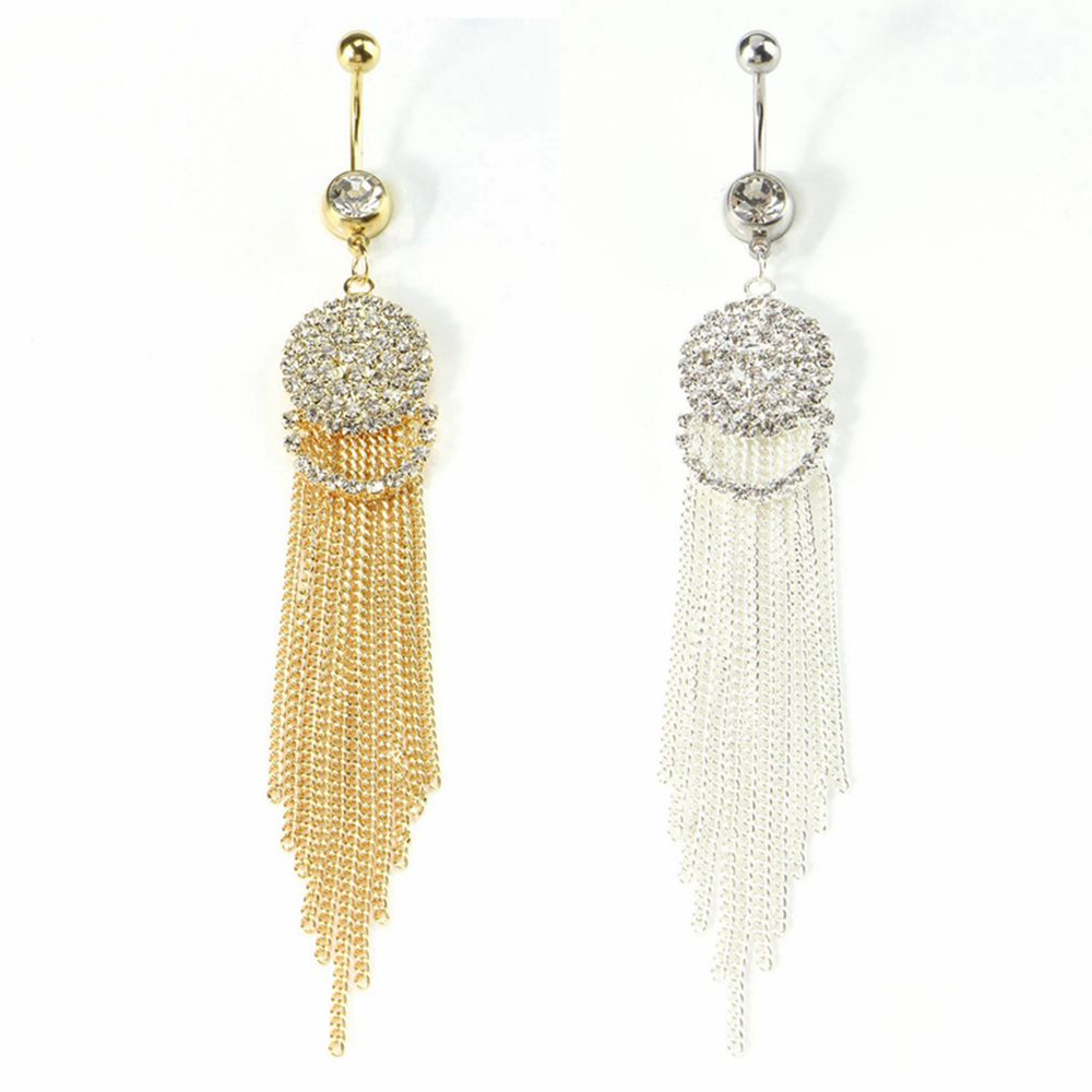 1pc Trendy Long Tassel Belly Button Ring with Rhinestone Charm Surgical Steel Navel Piercing Dangle Belly Piercing Body Jewelry