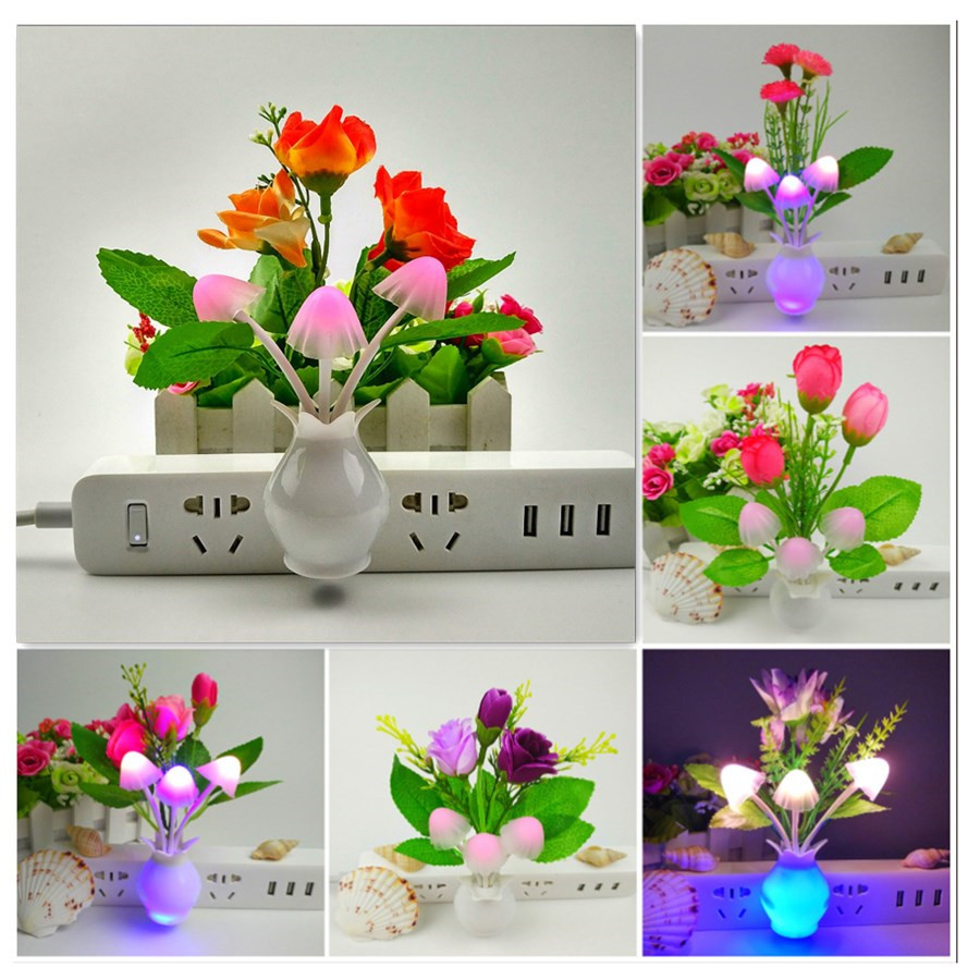 Romantic Light Control Induction LED Tulip Flower Night Light  LED Lamp For Home Decor Children's Night Light Veilleuse