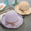 Corea Señora Sun beach Sombrero Cúpula Arco Sombrero de Paja sombreros de verano para mujeres