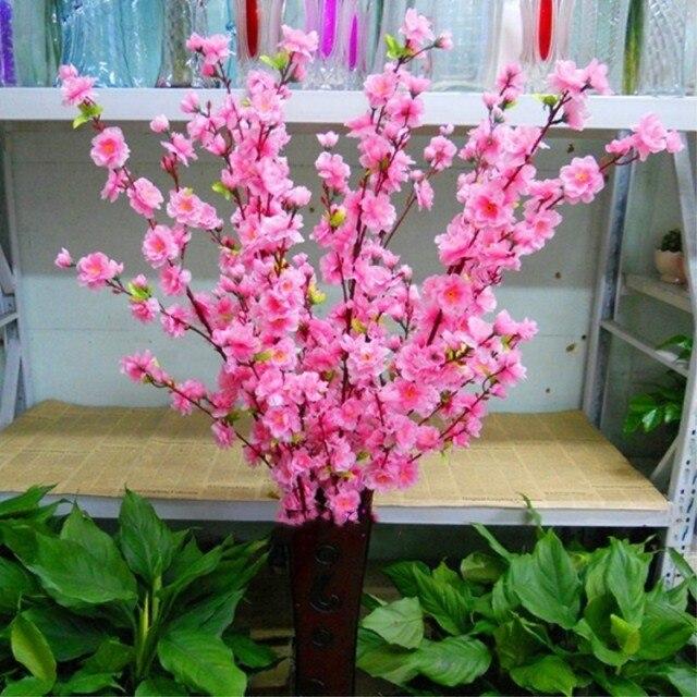 100pcs Peach blossom Simulation Artificial Plants Flower Floral Art ...