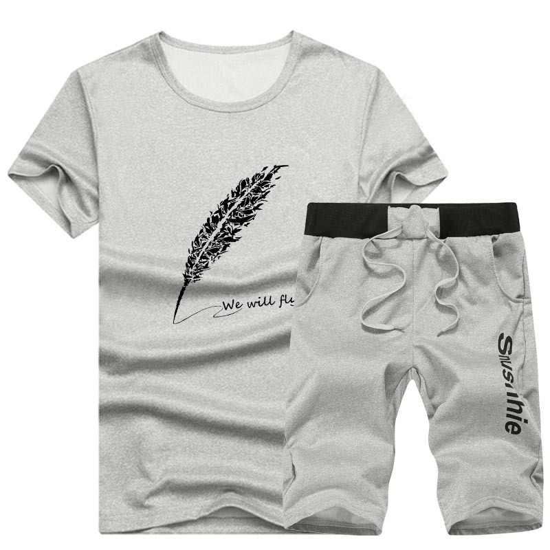 2019 Мужской комплект, модный летний Повседневный Спортивный костюм для мужчин, 2 предмета, футболка с круглым вырезом, шорты, комплекты, мужской спортивный костюм, плюс размер