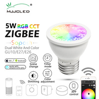 ZIGBEE Link Light ZLL Bridge 5W GU10 Dimmable LED Bulb E27 E26 Spotlight AC 110V 220V RGBCCT Smart App Control Cool Warm White