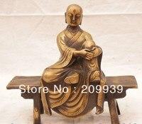 001556 Китай, Китайский Бронзовый luo han Arhat Arhan Тан Сен Статуя Скульптуры статуи (A0314)