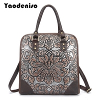 Yaodeniso Brand Ladies Handbags Genuine Leather Women Bag Casual Tote Floral Print Shoulder Bags 2017 New