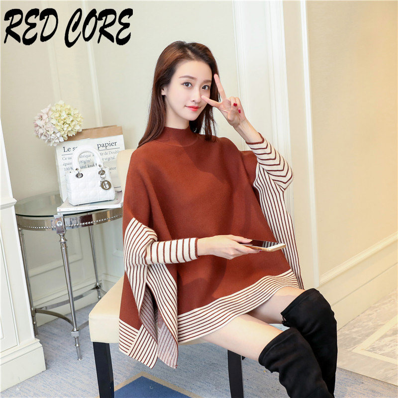 REDCORE New Casual Sweater Women Pullover Knitted Sweater Striped Ladies Autumn Winter Tops Long Sleeve Fashion Loose Top MY021