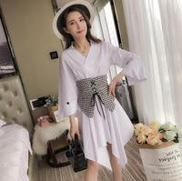 Asymmetrical Shirt Dress Women V Neck Sexy White Dresses Female With Wide Belt Women Casual Summer