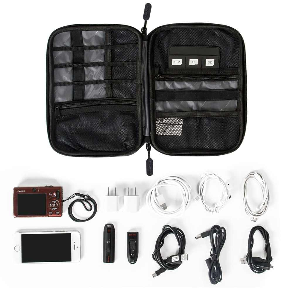 BAGSMART Travel Electronic Accessories Bag Mens Portable Travel Organizers For Data Line SD Card USB Cable Digital Device Bag