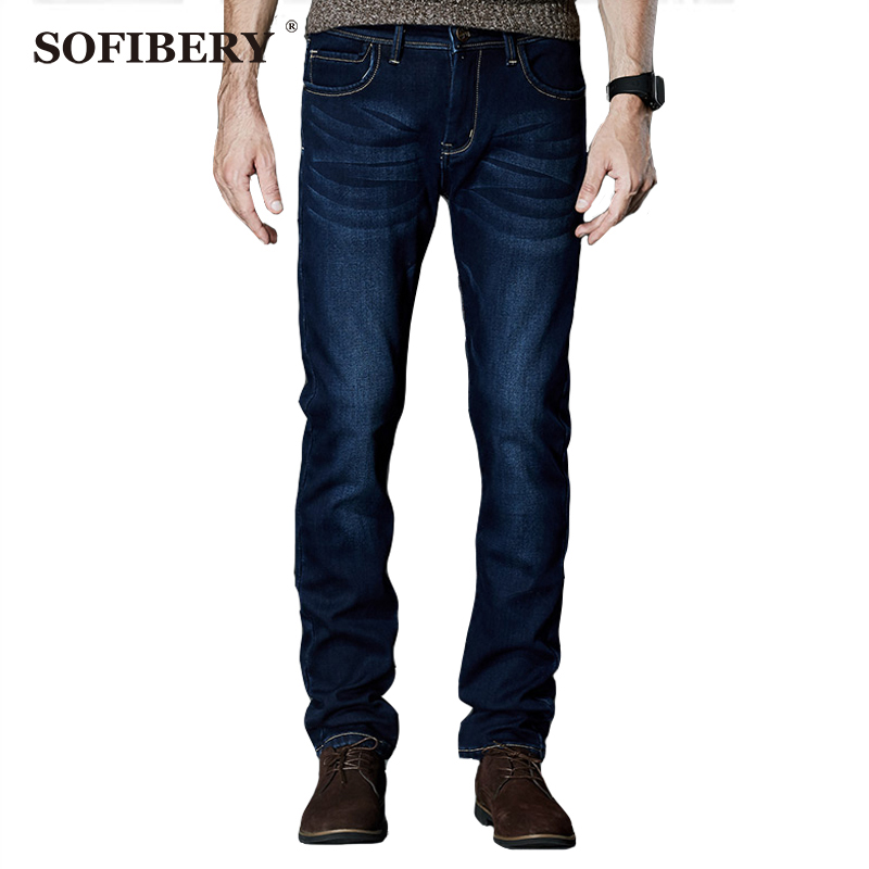 ФОТО SOFIBERY jeans Mens Winter Thicken Stretch Denim Jeans Warm Fleece Jean Pants Trousers Size 28-35- 42,Fall in prices M940-8913