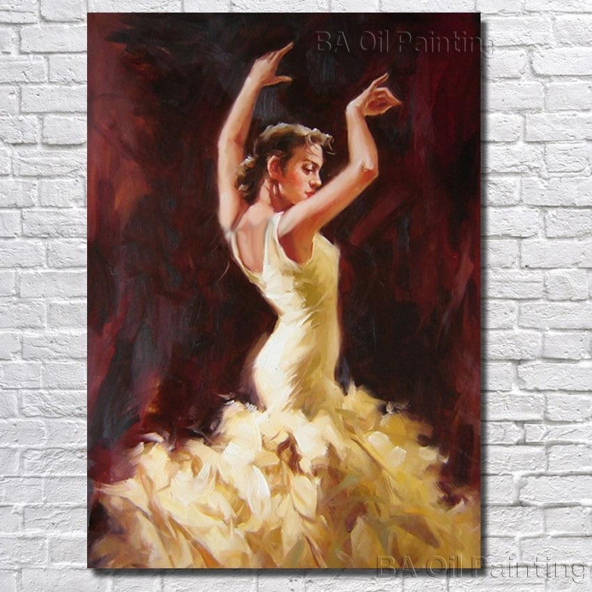 Pintado a mano Flamenco mujer española calor bailarina pintura al ...