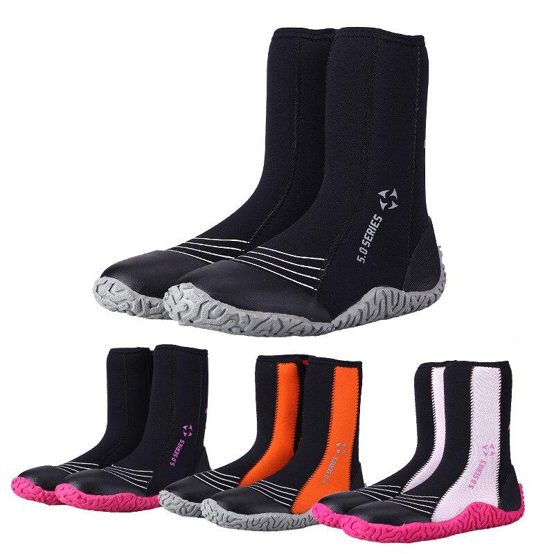 5 MM haute plongée chaussures antidérapant en néoprène chaud plage chaussures adapté pour hommes et femmes de natation en amont chaussures